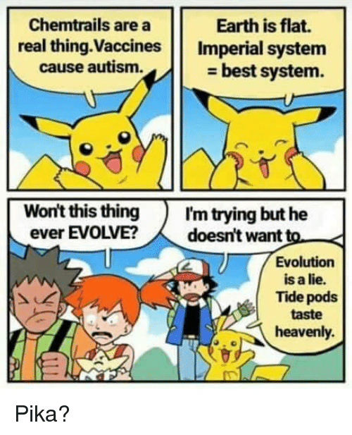 heavenly: Chemtrails are a  real thing.Vaccines Imperial system  Earth is flat.  cause autism.  - best system.  Won't this thingI'm trying but he  ever EVOLVE?doesn't want to  Evolution  is a lie.  Tide pods  taste  heavenly. Pika?