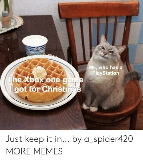 PlayStation: CHETAHA  Me, who has a  PlayStation  The Xbox onegame  got for Christmas Just keep it in… by a_spider420 MORE MEMES