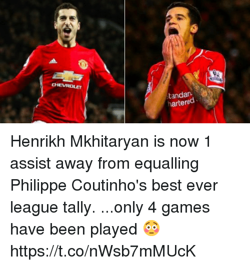 bests: CHEVROLET  tandar  hartered Henrikh Mkhitaryan is now 1 assist away from equalling Philippe Coutinho's best ever league tally.  ...only 4 games have been played 😳 https://t.co/nWsb7mMUcK