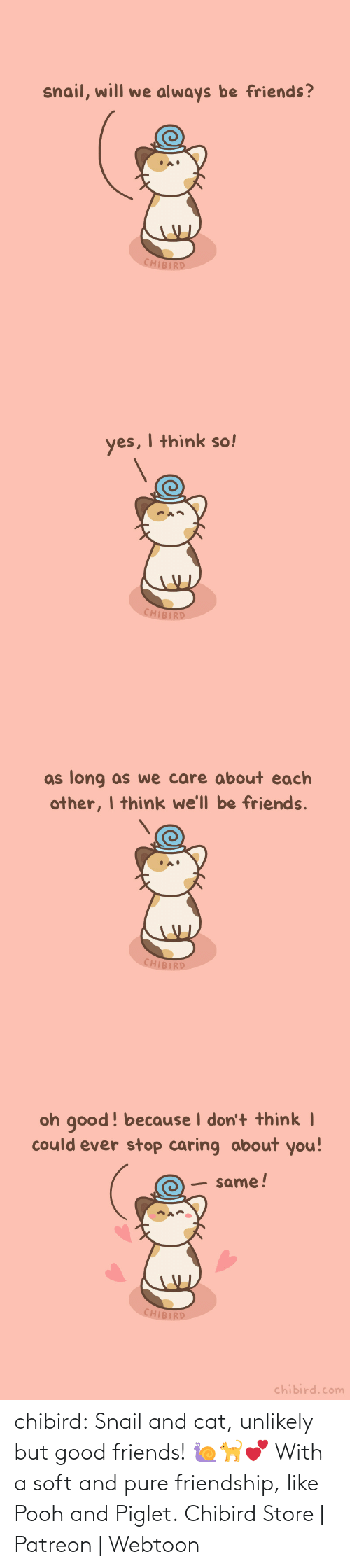 hurts: chibird:  Snail and cat, unlikely but good friends! 🐌🐈💕 With a soft and pure friendship, like Pooh and Piglet.  Chibird Store | Patreon | Webtoon