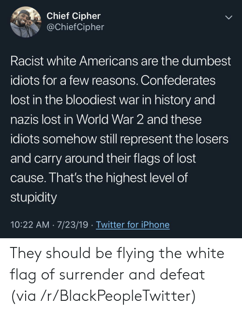 Chief: Chief Cipher  @ChiefCipher  Racist white Americans are the dumbest  idiots for a few reasons. Confederates  lost in the bloodiest war in history and  nazis lost in World War 2 and these  idiots somehow still represent the losers  and carry around their flags of lost  cause. That's the highest level of  stupidity  10:22 AM 7/23/19 Twitter for iPhone They should be flying the white flag of surrender and defeat (via /r/BlackPeopleTwitter)