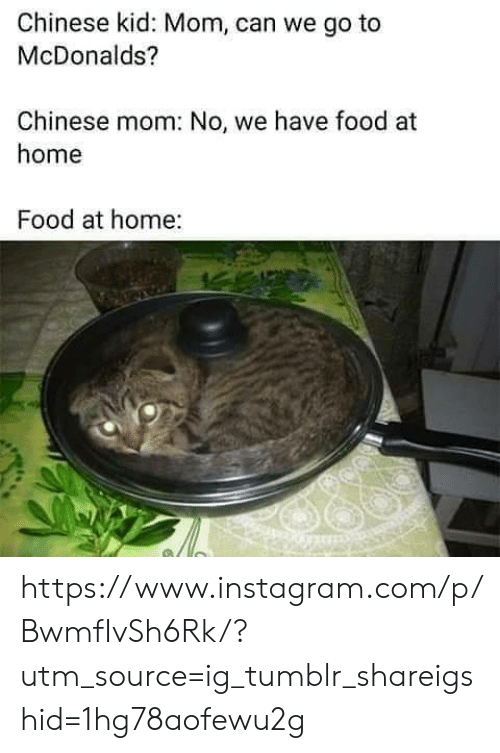 Can We Go: Chinese kid: Mom, can we go to  McDonalds?  Chinese mom: No, we have food at  home  Food at home: https://www.instagram.com/p/BwmfIvSh6Rk/?utm_source=ig_tumblr_shareigshid=1hg78aofewu2g
