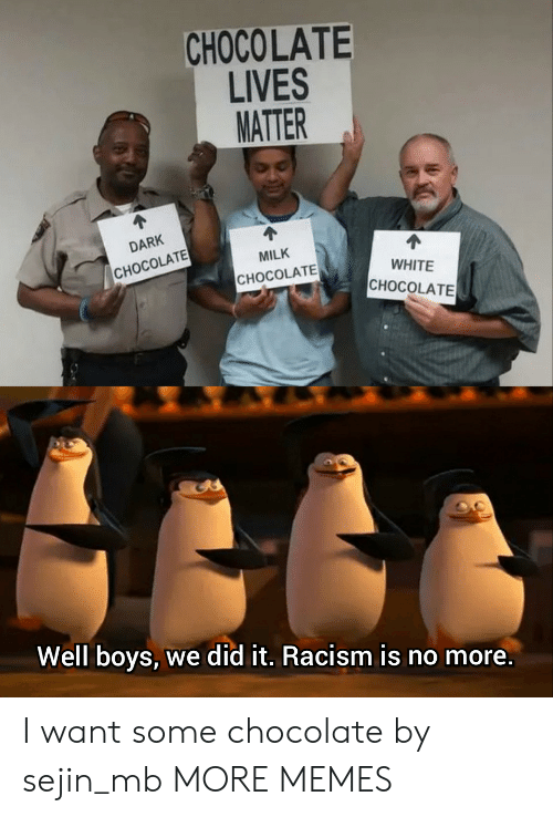 Dank, Memes, and Racism: CHOCOLATE  LIVES  MATTER  DARK  MILK  CHOCOLATE  WHITE  CHOCOLATE  CHOCOLATE  Well boys, we did it. Racism is no more. I want some chocolate by sejin_mb MORE MEMES