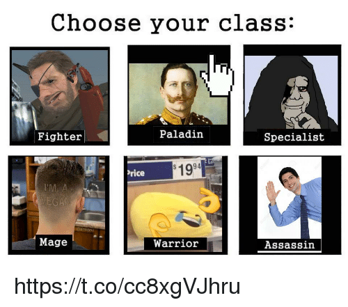 assassin: Choose your class:  Fighter  Paladin  Specialist  1994  rice  Mage  Warrior  Assassin https://t.co/cc8xgVJhru