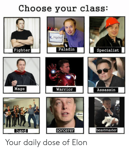 Your Daily Dose: Choose your class:  Fighter  Paladin  Specialist  Mage  Warrior  Assassin  Elon  beastmaster  bardl  orcerer Your daily dose of Elon