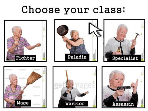 assassin: Choose your class:  Fighter  Paladir  Specialist  emages  Mage  Warrior  Assassin