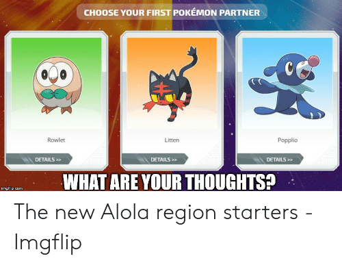 Alola Pokemon: CHOOSE YOUR FIRST POKÉMON PARTNER  Popplio  Rowlet  Litten  DETAILS>  DETAILS>»  DETAILS>>  WHAT ARE YOUR THOUGHTS?  imgflip.com The new Alola region starters - Imgflip