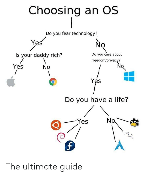 Life, Technology, and Fear: Choosing an OS  Do you fear technology?  Yes  No  Do you care about  Is your daddy rich?  freedom/privacy?  Yes  No  Yes  Do you have a life?  No  Yes  1. The ultimate guide