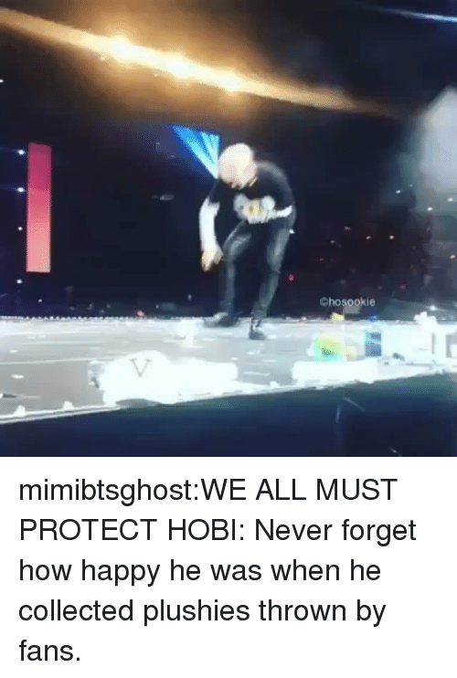 Tumblr, Blog, and Happy: chosookie mimibtsghost:WE ALL MUST PROTECT HOBI: Never forget how happy he was when he collected plushies thrown by fans.