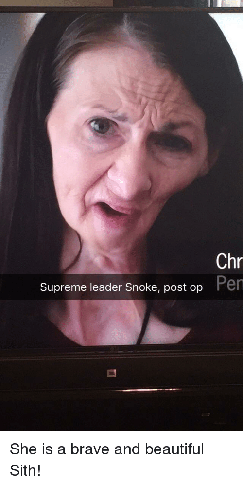 Beautiful, Sith, and Supreme: Chr  Pen  Supreme leader Snoke, post op