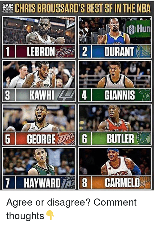 Butlers: CHRIS BROUSSARD'S BEST SF IN THE NBA  Hun  1 LEBRON-2/-112/ DURANTEN  SKIP  5 GEORGE  BUTLER  11  HAYWARD/一18  CARMEL0% Agree or disagree? Comment thoughts👇