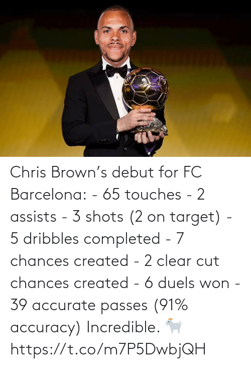 Barcelona: Chris Brown's debut for FC Barcelona:  - 65 touches - 2 assists - 3 shots (2 on target) - 5 dribbles completed  - 7 chances created  - 2 clear cut chances created  - 6 duels won  - 39 accurate passes (91% accuracy)  Incredible. 🐐 https://t.co/m7P5DwbjQH