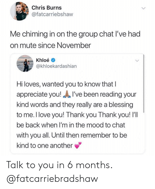 Girl Memes: Chris Burns  @fatcarriebshaw  Me chiming in on the group chat I've had  on mute since November  Khloé  @khloekardashiarn  Hi loves, wanted you to know that I  appreciate you!I've been reading your  kind words and they really are a blessing  to me. l love you! Thank you Thank you! I'll  be back when I'm in the mood to chat  with you all. Until then remember to be  kind to one another Talk to you in 6 months. @fatcarriebradshaw
