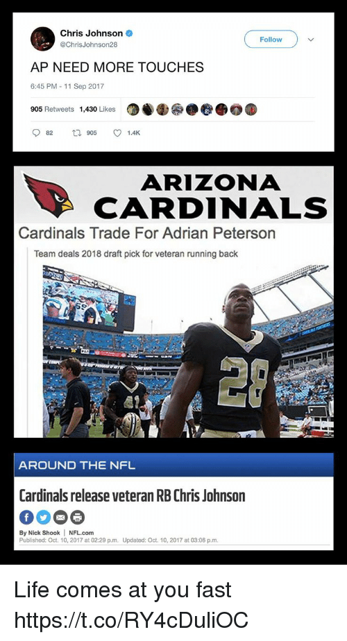 Chris Johnson: Chris Johnson  @ChrisJohnson28  Follow  AP NEED MORE TOUCHES  6:45 PM - 11 Sep 2017  905 Retweets  1,430 Likes  87  082  905  1.4K  ARIZONA  CARDINALS  Cardinals Trade For Adrian Peterson  Team deals 2018 draft pick for veteran running back  愿?  AROUND THE NFL  Cardinals release veteran RB Chris Johnson  By Nick Shook NFL.com  Published: Oct. 10, 2017 at 02:29 p.m. Updated: Oct. 10, 2017 at 03:06 p.m Life comes at you fast https://t.co/RY4cDuliOC