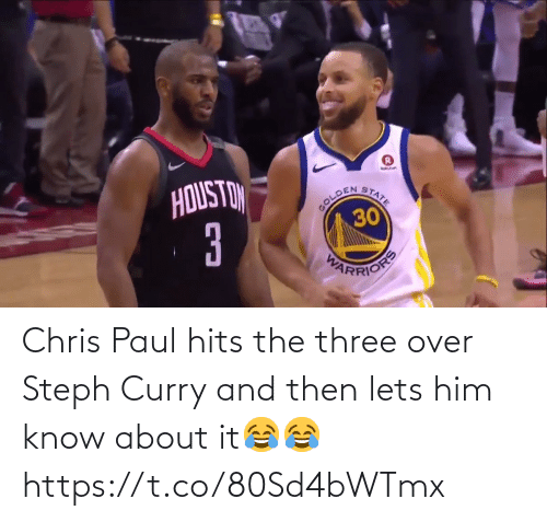 Hits: Chris Paul hits the three over Steph Curry and then lets him know about it😂😂 https://t.co/80Sd4bWTmx