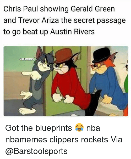 Ariza: Chris Paul showing Gerald Green  and Trevor Ariza the secret passage  to go beat up Austin Rivers  @NBAMEMES Got the blueprints 😂 nba nbamemes clippers rockets Via @Barstoolsports