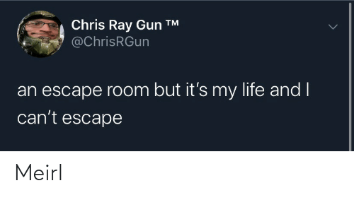 But Its: Chris Ray Gun ™  @ChrisRGun  an escape room but it's my life and I  can't escape Meirl