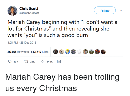 I Dont Want A Lot For Christmas.Chris Scott Follow Mariah Carey Beginning With L Don T Want