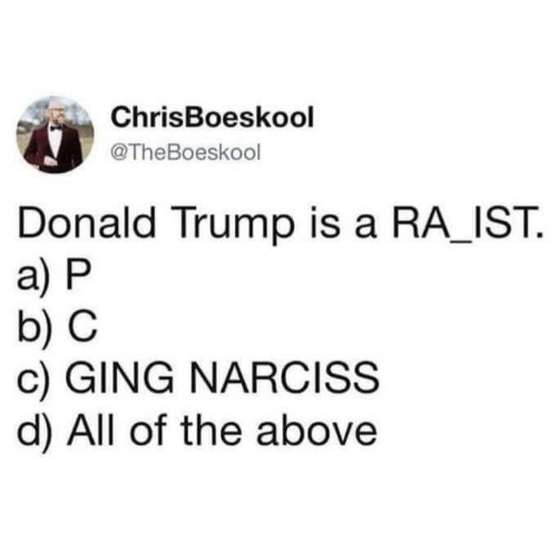 Donald Trump, Trump, and All of The: ChrisBoeskool  @TheBoeskool  Donald Trump is a RA_IST.  a) P  b) C  c) GING NARCISS  d) All of the above