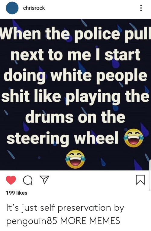 Dank, Memes, and Police: chrisrock  When the police pull  next to me I start  doing white people  shit like playing the  drums on the  steering wheel  Q V  199 likes It's just self preservation by pengouin85 MORE MEMES