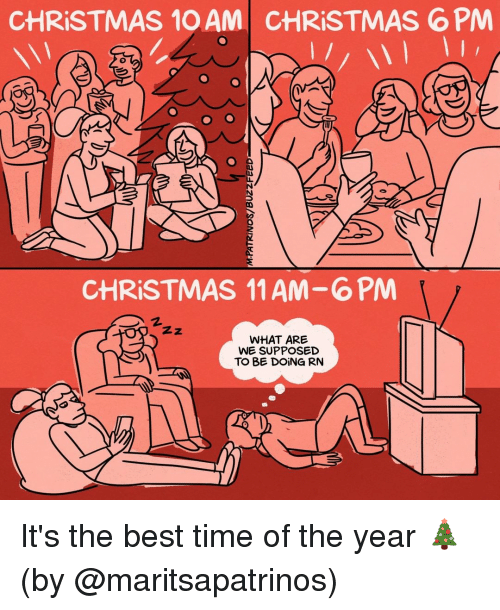 Best Time: CHRISTMAS 10 AM  CHRİSTMAS 6 PM  0  CHRISTMAS 11 AM-6PM  2.  WHAT ARE  WE SUPPOSED  TO BE DOİNG RN It's the best time of the year 🎄 (by @maritsapatrinos)