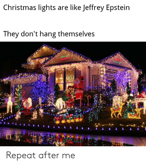 Epstein: Christmas lights are like Jeffrey Epstein  They don't hang themselves Repeat after me