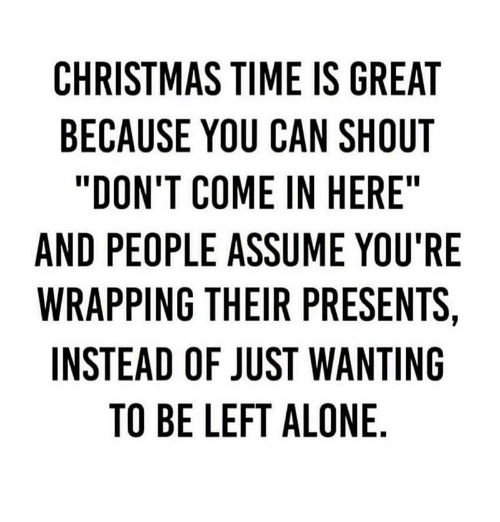 "Being Alone, Christmas, and Memes: CHRISTMAS TIME IS GREAT  BECAUSE YOU CAN SHOUT  ""DON'T COME IN HERE  AND PEOPLE ASSUME YOU'RE  WRAPPING THEIR PRESENTS,  INSTEAD OF JUST WANTING  TO BE LEFT ALONE"