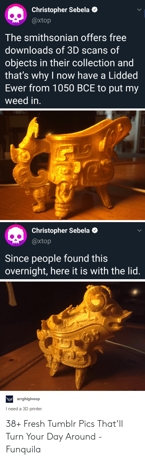 Fresh, Tumblr, and Weed: Christopher Sebela  @xtop  The smithsonian offers free  downloads of 3D scans of  objects in their collection and  that's why I now have a Lidded  Ewer from 1050 BCE to put my  weed in.  Christopher Sebela  @xtop  Since people found this  overnight, here it is with the lid.  aearrghigiveup  I need a 3D printer 38+ Fresh Tumblr Pics That'll Turn Your Day Around - Funquila
