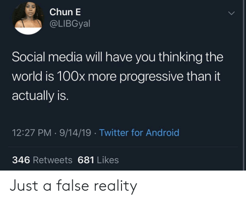 Progressive: Chun E  @LIBGyal  Social media will have you thinking the  world is 100x more progressive than it  actually is.  12:27 PM 9/14/19 Twitter for Android  346 Retweets 681 Likes Just a false reality