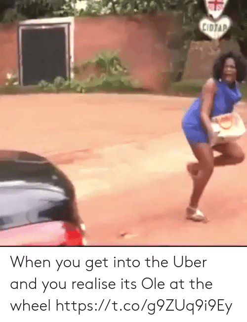 Soccer, Uber, and You: CIDJAP When you get into the Uber and you realise its Ole at the wheel https://t.co/g9ZUq9i9Ey
