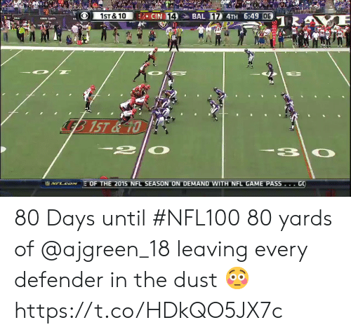 Memes, Nfl, and Game: CIN 14  BAL 17 4TH 6:49 06  1ST&10  TR  LEB 1ST&10  2|  EOF THE 2015 NFL SEASON ON DEMAND WITH NFL GAME PASS... GO  I NFL.CN 80 Days until #NFL100  80 yards of @ajgreen_18 leaving every defender in the dust 😳 https://t.co/HDkQO5JX7c