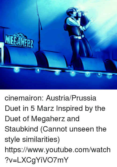 duet: cinemairon:  Austria/Prussia Duet in 5 Marz Inspired by the Duet of Megaherz and Staubkind (Cannot unseen the style similarities) https://www.youtube.com/watch?v=LXCgYiVO7mY