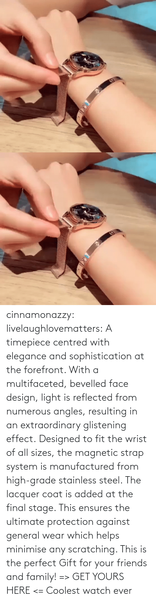 The Perfect: cinnamonazzy:  livelaughlovematters: A timepiece centred with elegance and sophistication at the forefront. With a multifaceted, bevelled face design, light is reflected from numerous angles, resulting in an extraordinary glistening effect. Designed to fit the wrist of all sizes, the magnetic strap system is manufactured from high-grade stainless steel. The lacquer coat is added at the final stage. This ensures the ultimate protection against general wear which helps minimise any scratching. This is the perfect Gift for your friends and family! => GET YOURS HERE <=    Coolest watch ever