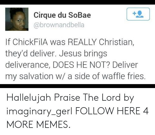 praise the lord: Cirque du SoBae  abrownandbella  If ChickFilA was REALLY Christian,  they'd deliver. Jesus brings  deliverance, DOES HE NOT? Deliver  my salvation w/ a side of waffle fries Hallelujah Praise The Lord by imaginary_gerl FOLLOW HERE 4 MORE MEMES.