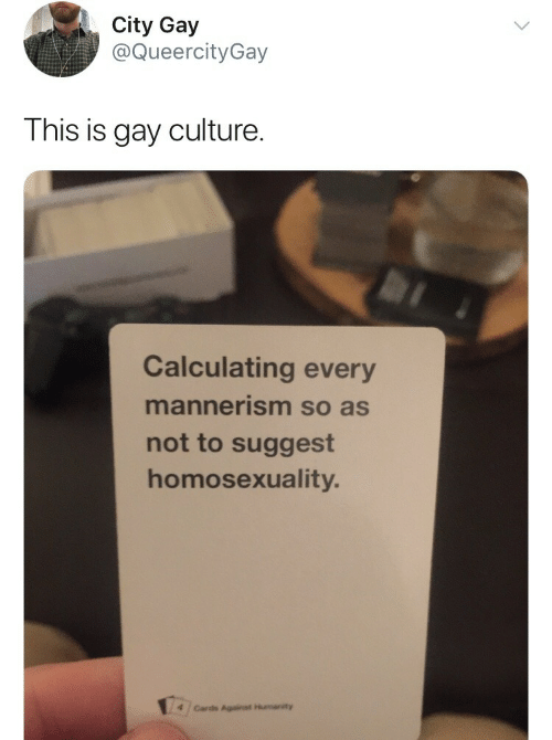 mannerism: City Gay  @QueercityGay  This is gay culture.  Calculating every  mannerism so as  not to suggest  homosexuality.  4 /Cards Against Humanity
