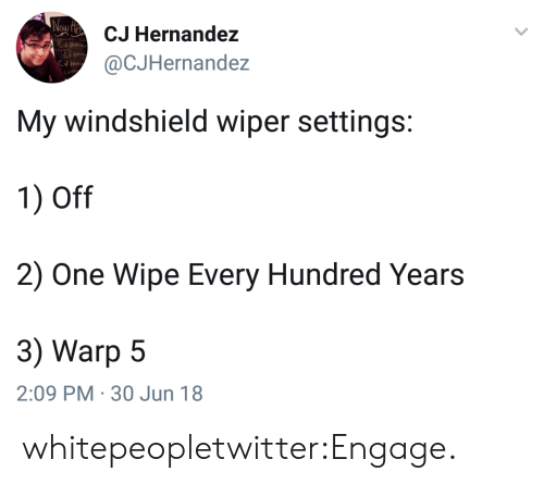 Hernandezing: CJ Hernandez  @CJHernandez  My windshield wiper settings:  1) Off  2) One Wipe Every Hundred Years  3) Warp 5  2:09 PM 30 Jun 18 whitepeopletwitter:Engage.