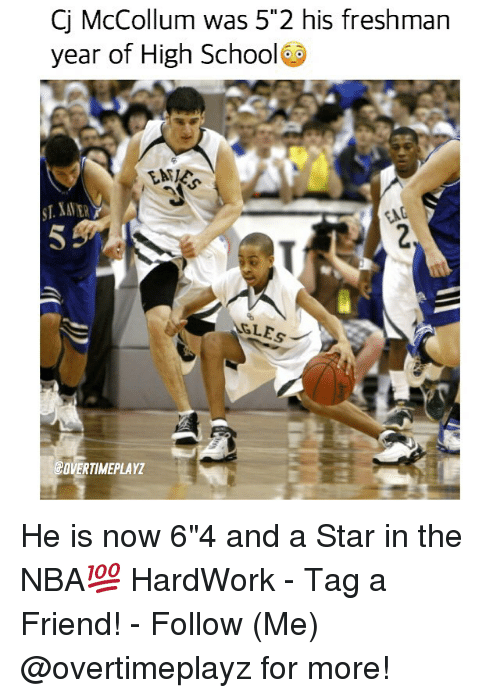"""Mccollum: Cj McCollum was 55 2 his freshman  year of High School  GLEs  COVERTIMEPLAYZ He is now 6""""4 and a Star in the NBA💯 HardWork - Tag a Friend! - Follow (Me) @overtimeplayz for more!"""