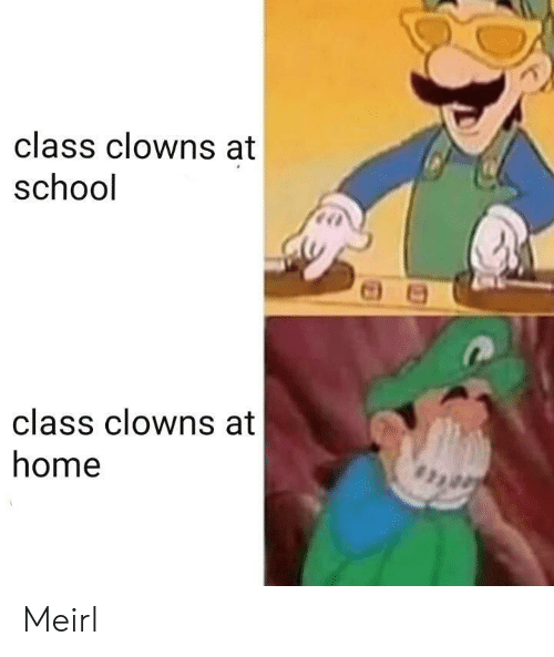 Clowns: class clowns at  school  class clowns at  home Meirl