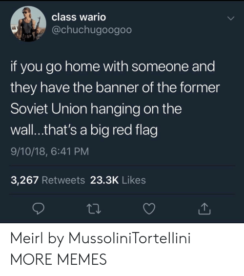 Big Red: class Wario  @chuchugoogoo  if you go home with someone and  they have the banner of the former  Soviet Union hanging on the  wall..that's a big red flag  9/10/18, 6:41 PM  3,267 Retweets 23.3K Likes Meirl by MussoIiniTorteIIini MORE MEMES
