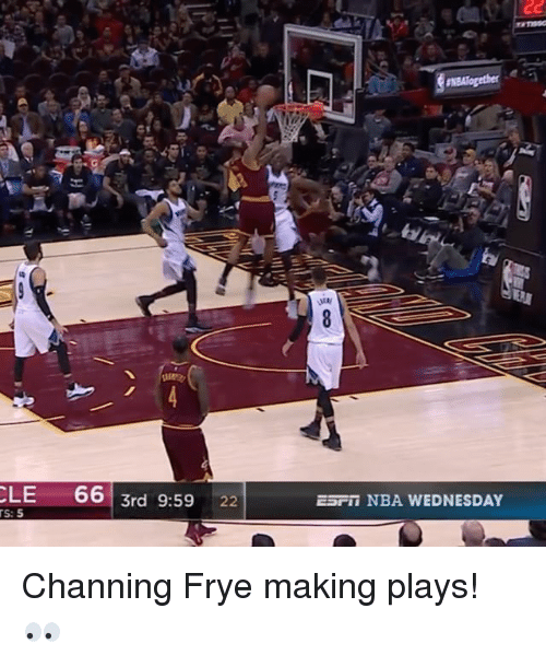 channing frye: CLE  66  3rd 9:59  22  EST NBA WEDNESDAY Channing Frye making plays! 👀