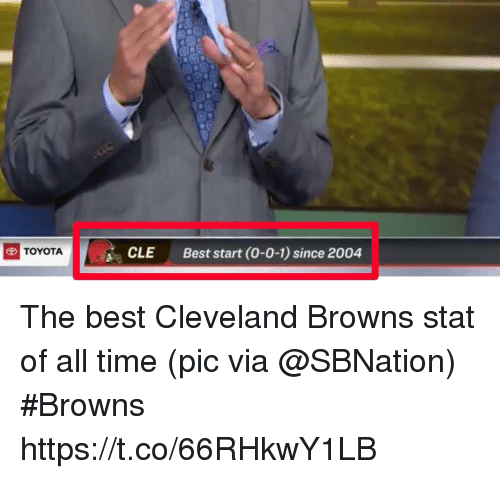 Cleveland Browns, Sports, and Toyota: CLE  Best start (0-0-1) since 2004  TOYOTA The best Cleveland Browns stat of all time   (pic via @SBNation) #Browns https://t.co/66RHkwY1LB