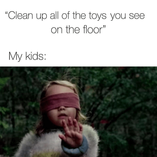 """Kids, Toys, and All of The: """"Clean up all of the toys you see  on the floor""""  My kids:"""