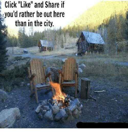 """Like And Share: Click """"Like"""" and Share if  you'd rather be out here  than in the city."""