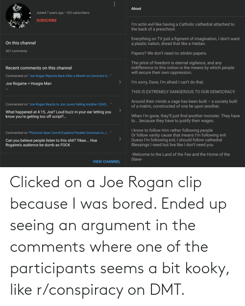 Joe Rogan: Clicked on a Joe Rogan clip because I was bored. Ended up seeing an argument in the comments where one of the participants seems a bit kooky, like r/conspiracy on DMT.