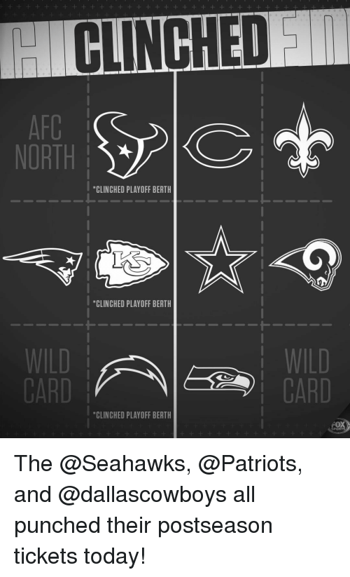 """fox sports: CLINCHED  NORTH  *CLINCHED PLAYOFF BERTH  """"CLINCHED PLAYOFF BERTH  1-  WILD  CARD  CARD  *CLINCHED PLAYOFF BERTH  FOX  SPORTS The @Seahawks, @Patriots, and @dallascowboys all punched their postseason tickets today!"""