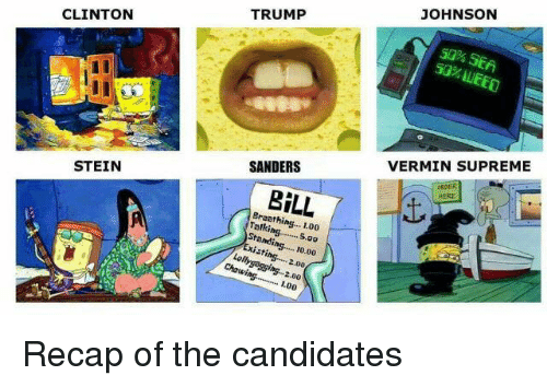 Memes, Supreme, and Candide: CLINTON  STEIN  TRUMP  SANDERS  BILL  1.00  Standing..... P0.00  2.00  Chewing.......... 2.00  100  JOHNSON  50% SEA  VERMIN SUPREME Recap of the candidates