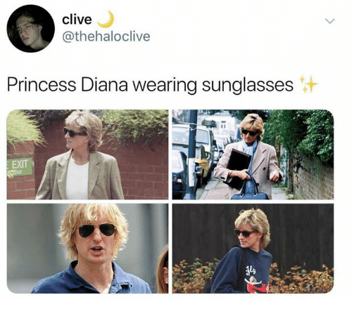 wearing sunglasses: clive  @thehaloclive  Princess Diana wearing sunglasses
