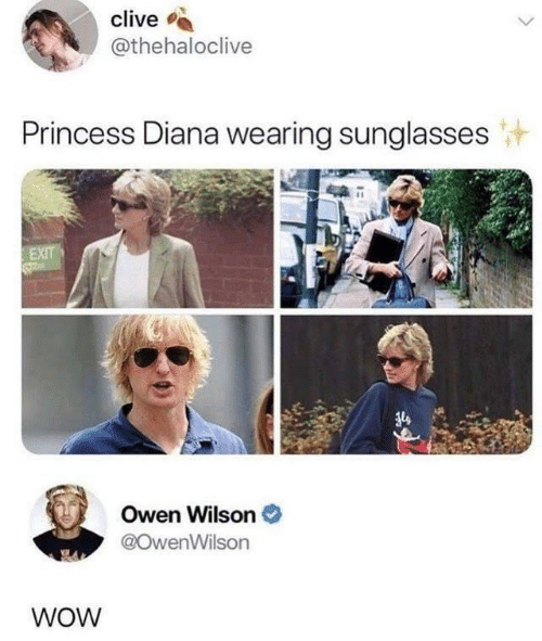 wearing sunglasses: clive  @thehaloclive  Princess Diana wearing sunglasses  EXIT  Owen Wilson  @OwenWilson  WOW