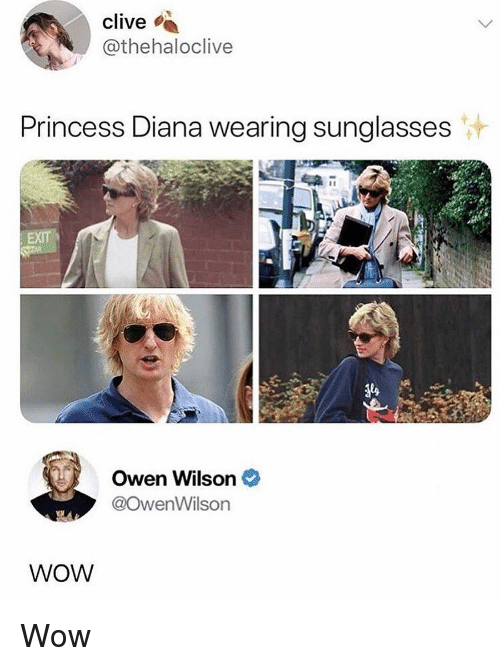 wearing sunglasses: clive  thehaloclive  Princess Diana wearing sunglasses  Owen Wilson  @owenWilson  84  WOW Wow