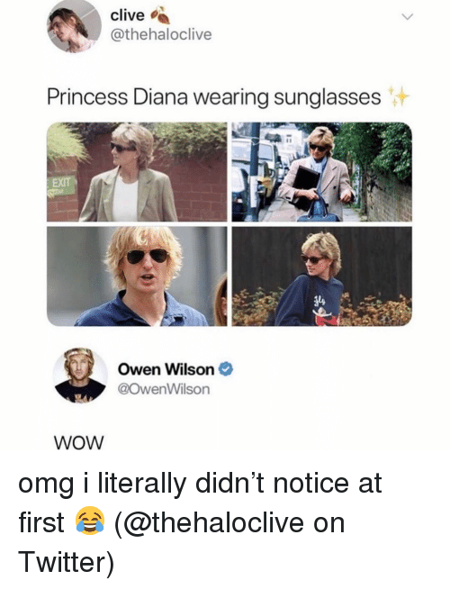 wearing sunglasses: clive  @thehaloclive  Princess Diana wearing sunglasses  Owen Wilson  @owenWilson  WoW omg i literally didn't notice at first 😂 (@thehaloclive on Twitter)